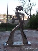 Art Deco női figura-gyertyatartó króm 16x11 cm