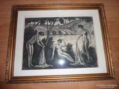 Három grácia, fürdőző aktok, rézkarc, ismeretlen