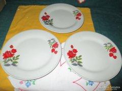 3 db csodás rózsa mintás süteményes tányér