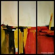 Absztrakt olajfestmény együttes . Művésztől ! Vörös föld .