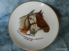 Bavaria lovat ábrázoló porcelán dísztányér, falitányér