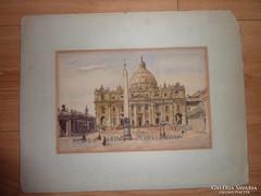 Rudolf von Alt? : Vatikán,Szt.Péter Bazilika, 19.sz.akvarell