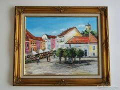 NAPFÉNYES SZENTENDRE valódi festmény -40 cm x 50 cm utcarészlet