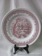 Barna -fehér angol porcelán tányér 25,3 cm.