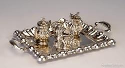 Ezüst miniatűr kávéskészlet