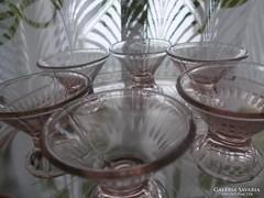 Art deco rózsaszínű likőrös készlet