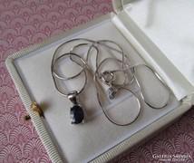 Zafír köves  ezüst medál + ezüst nyaklánc új ékszer