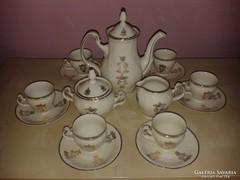 Aranyozott porcelán kávés készlet