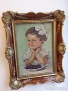Nagyon szép festmény: Kislány egy tál cseresznyével!