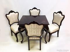 Neobarokk asztal négy székkel