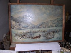 Téli tájkép rókával, olaj, vászon 71 x 100 cm, Lehoczky J.