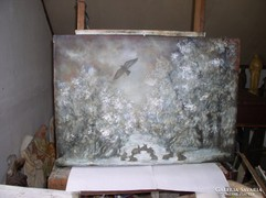 Didergő kisnyulak a téli berekben ol.v. 89 x 98 cm Lehoczky