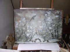 Festmény, Tájkép, Didergő kisnyulak, Lehoczkyl