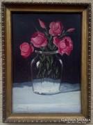 Murin Vilmos: Bazsa rózsa, csokor, virág csendélet