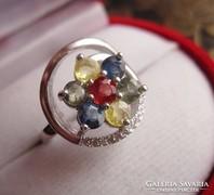 Tavaszgyűrű- gránát, zafír, citrin zöld ametiszt ezüst gyűrű