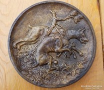 Kutyás bronz falikép