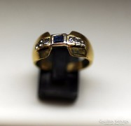 18K. arany Diamond-kek-zafir gyuru