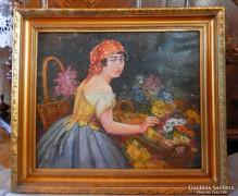 Virágárus lány antik olaj-vászon festmény