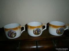 3 db Zsolnay 1100/ db antik jelenetes  porcelán teás