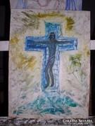 Krucifix, farostlemez, olaj Lehoczky József - 40  x 30 cm