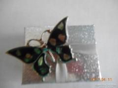 Gyöngyházberakásos Ezüstözött Pillangó Bross