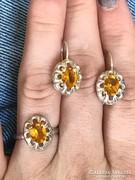 Ezüst sárga köves szett gyűrű(17mm) +medál