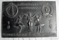 Szövetkezeti néptáncosok V. országos találkozója 1974, plake