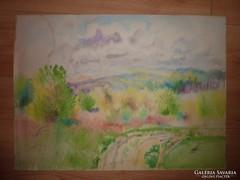 Vajszada Károly: Vidám természet, akvarell, jelzés nélkül