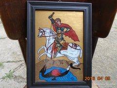 Sárkányölő Szent György-üveg ikon-fa keret-36x27 cm