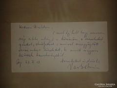 Vas István köszönő levele 1963 VI 13