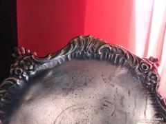 Antik ezüstözött ón gyertyatartó