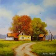 Őszi tanya Obermayer olaj vászon festmény
