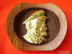 Régi réz falikép rózsafa kerettel,Lenin