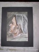 Idős nő arca, guache-akvarell-fehér fedőfesték 33 x 23,5 cm