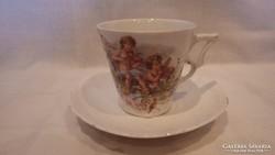 Régi porcelán csésze + alj putto angyalka