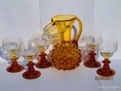 Antik Borostyán Szakított Üveg Bütykös Kancsó Boros Készlet