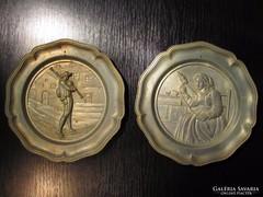 HÚSVÉTI AKCIÓ - 2 db Antik Ón fali tányér ALKUKÉPES