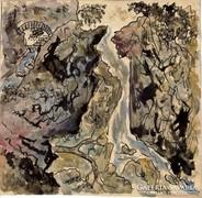 Tivoli vízesés, tus-akvarell papír,15 x 15 cm névtelen