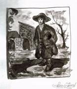 Csavargó,lavírozott tusrajz, papír. Lehoczky József 1989