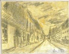 Úri utca a budai várban, papír ceruza, akvarell lavízozás LJ