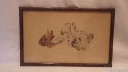 3 kutya régi akvarell festmény ( Jól megkente ):)
