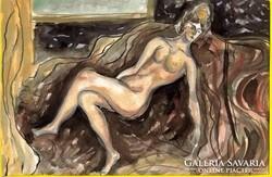 Női akt tusrajz és akvarell, papír 17,5 x 25 cm Lehoczky J.