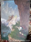 68 x 48 cm-es olaj-vászon festmény őrangyallal .