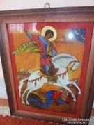 Sárkányölő Szent György üveg ikon