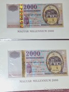 Aranyszálas Millenniumi papír 2000 forintosok ár/db