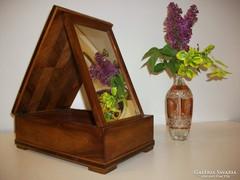 Art Deco doboz, tükörrel, utazó pipere doboz, asztali tükör