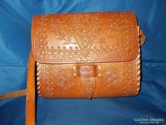 Csodaszép régi barna bőr válltáska,vadásztáska,táska