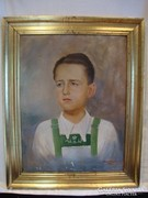 Römer Camilló 1942 fiú portré festmény