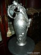 Gyönyörű antik szecessziós jelzett ón váza/kancsó eladó