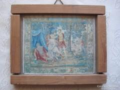 Lengyel vallási témájú textil kép 16x13 cm